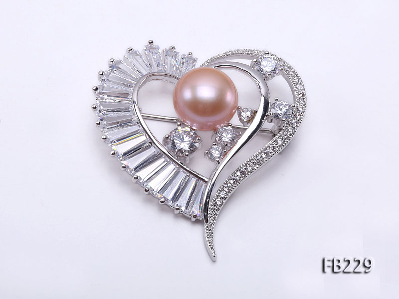 12mm Pink Near Round Freshwater Pearl Brooch