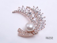 13mm White Near Round Freshwater Pearl Brooch