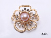 13mm Pink Near Round Freshwater Pearl Brooch