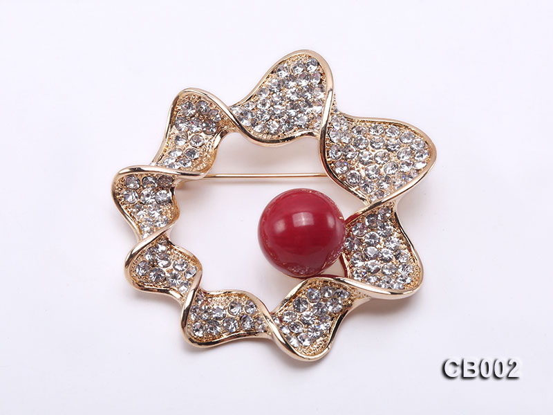 13mm Red Round Coral Brooch