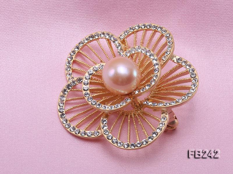 Flower-style 13mm Pink Freshwater Pearl Brooch