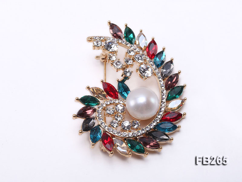 12mm White Freshwater Pearl Brooch