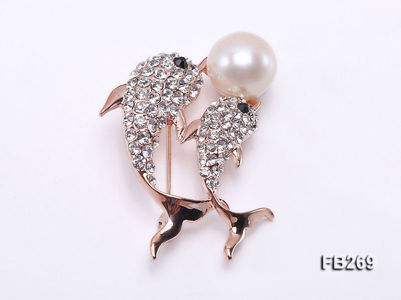 13mm White Freshwater Pearl Brooch