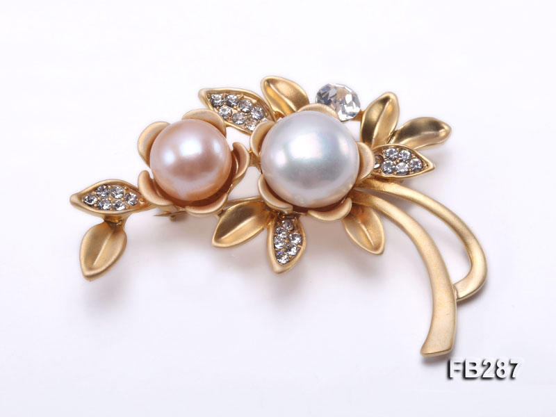 10.5mm Pink and 13mm White Freshwater Pearl Brooch