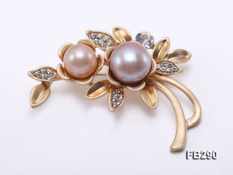 10.5mm Pink & 13mm Lavender Freshwater Pearl Brooch