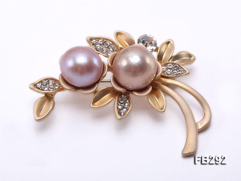12.5 Lavender & 13.5mm Pink Freshwater Pearl Brooch