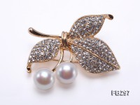 Cherry-style 10.5-11mm White Freshwater Pearl Brooch