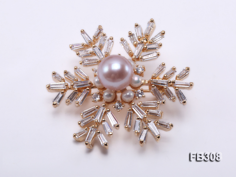 Snow-style 10.5mm Lavender Freshwater Pearl Brooch