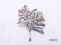 6x7mm White & Pink Freshwater Pearl Brooch