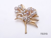 8x7mm Multi-color Oval Freshwater Pearl Brooch