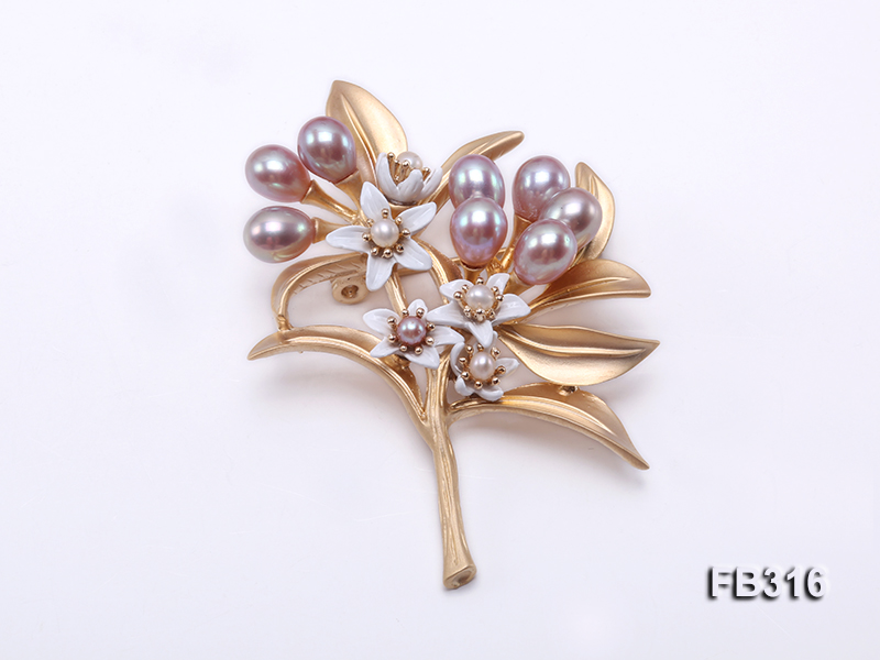 6x7mm Lavender Oval Freshwater Pearl Brooch