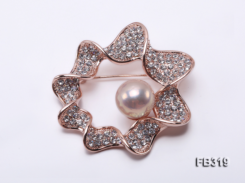 13mm Pink Round Edison Pearl Brooch