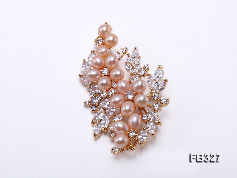 6x8mm Pink Freshwater Pearl Brooch