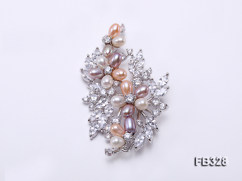 5.5x7mm Multi-color Freshwater Pearl Brooch