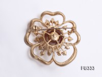 Flower-style 14mm Lavender Freshwater Pearl Brooch