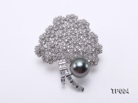 11mm Black Tahitian Pearl Brooch in Silver