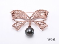 11x13mm Black Tahitian Pearl Brooch in Silver