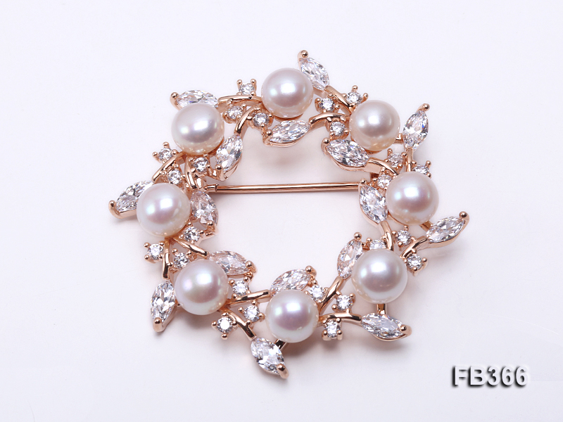 6.5mm White Freshwater Pearl Brooch