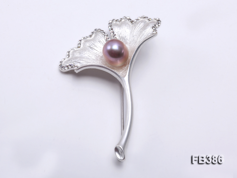 Gingko-style 10x13mm Lavender Freshwater Pearl Brooch