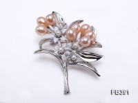 6.5x8mm Pink Freshwater Pearl Brooch