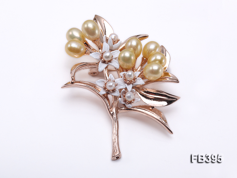 6.5x8mm Yellow Freshwater Pearl Brooch