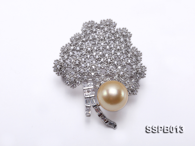 12.5mm South Sea Golden Pearl Brooch Set on Sterling Silver Bail with Zircons