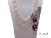 Four-strand 5-6mm Natural White Freshwater Pearl Necklace