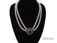 Double-strand 8mm White Round Freshwater Pearl Choker Necklace
