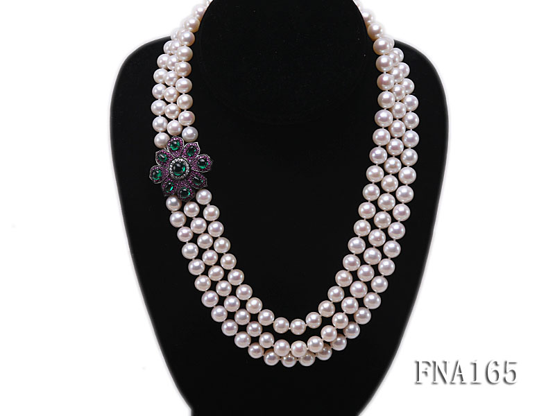 Luxury Three-strand 8-9mm White Round Freshwater Pearl Necklace