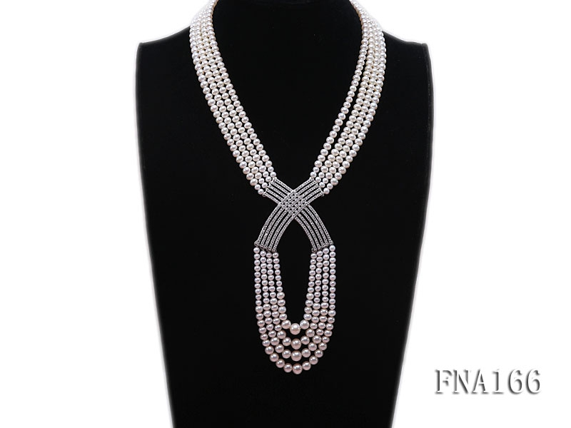 Four-strand 4-5mm White Freshwater Pearl Necklace