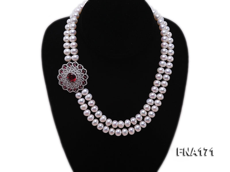 Double-strand 9mm White Flatly Round Freshwater Pearl Necklace