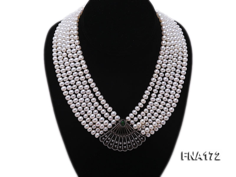 Six-Strand 6-7mm White Freshwater Pearl Necklace