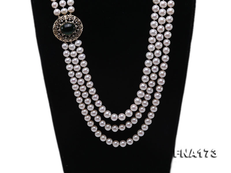 Three-strand 8-9mm White Round Freshwater Pearl Necklace