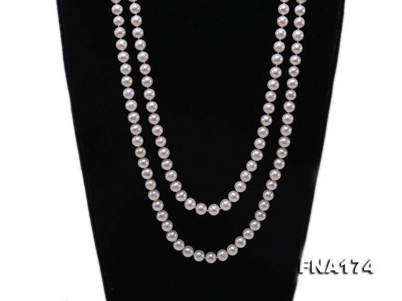 Double-strand 7-8mm White Round Freshwater Pearl Necklace
