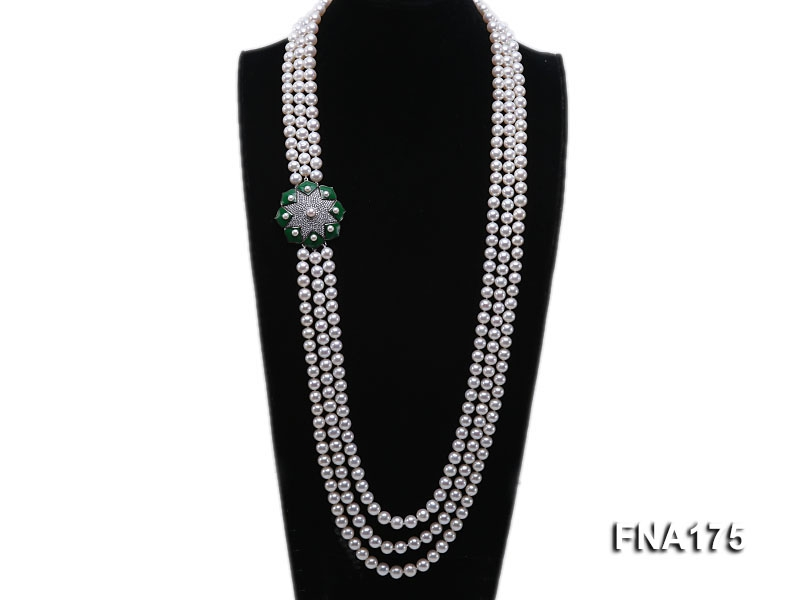 Luxury Three-strand 7-8mm White Round Freshwater Pearl Necklace