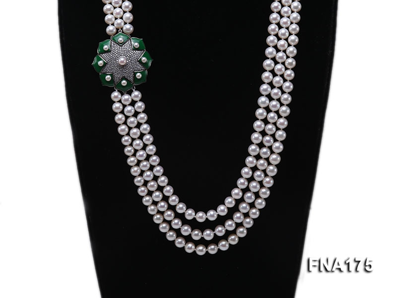 Luxury Three-strand 7-8mm White Round Freshwater Pearl Necklace