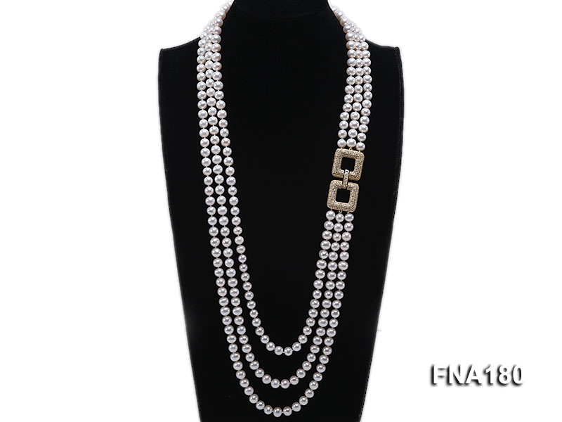 Three-strand 8mm White Round Freshwater Pearl Necklace