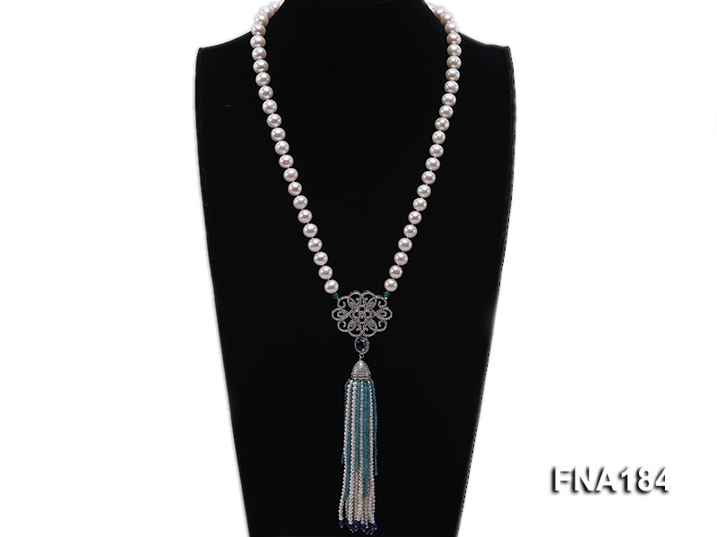 9mm White Round Cultured Freshwater Pearl Tassel Necklace