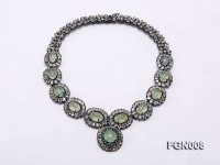 Fine Natural Prehnite and Emerald Necklace