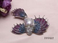 Fine Bird-style White Baroque Pearl Pendant/Brooch