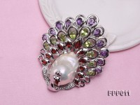 Fine Peacock-style White Baroque Pearl Pendant with Gemstone