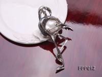 Fine Crane-style White Baroque Pearl Pendant/Brooch