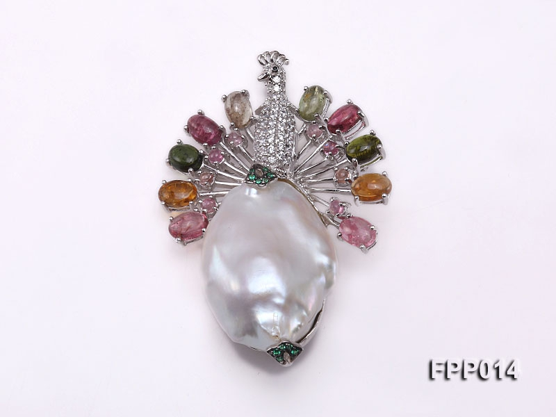 Fine Peacock-style White Baroque Pearl Pendant with Colorful Tourmaline