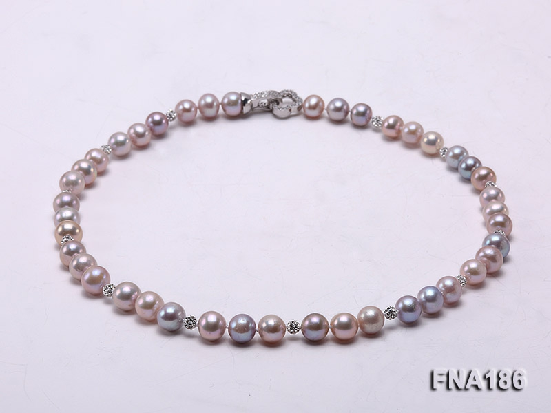9-9.5mm Pink and Lavender Round Freshwater Pearl Necklace