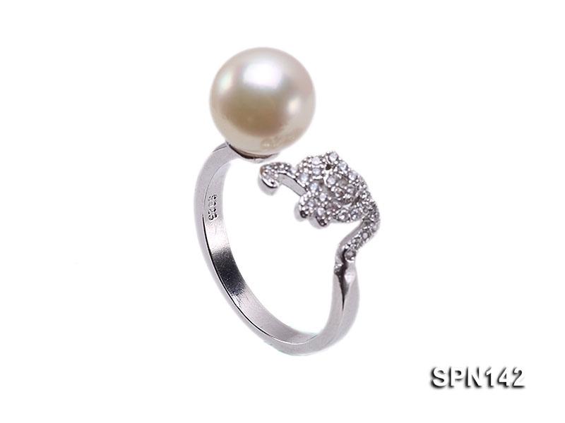 Zodiac-style 9mm Natural White Akoya Pearl Ring