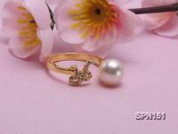 Zodiac-style 9mm White Akoya Saltwater Pearl Ring