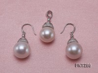 13.5-14.5mm White Round Edison Pearl Pendant and Earrings Set with Silver Chain