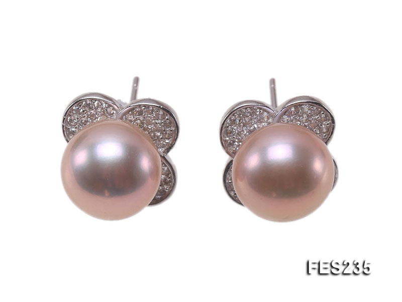 9.5mm Lavender Flat Freshwater Pearl Earrings