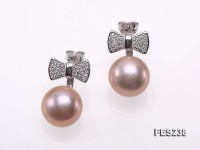 11.5mm Pink Flatly Round Freshwater Pearl Earrings