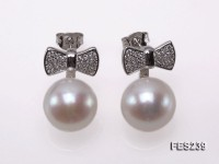12mm White Flatly Round Freshwater Pearl Earrings